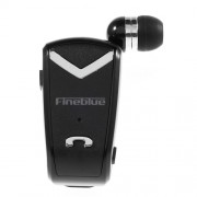 FINEBLUE F-V2 Retractable In-ear Bluetooth Earphone for iPhone Samsung etc - Black