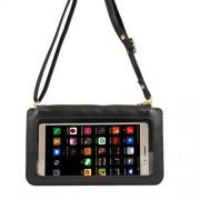 Universal Δερμάτινη Θήκη για Λαιμό για μεγάλα Smartphones με Δυνατότητα Αφής με μέγεθος 20 x 11.5 cm - Μαύρο