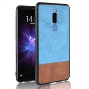 Bi-color Splicing PU Leather Coated PC + TPU Hybrid Phone Case for Meizu Note8 - Blue