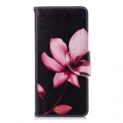 Δερμάτινη Θήκη Πορτοφόλι με Βάση Στήριξης για Nokia 5.1 - Ροζ Λουλούδι σε Μαύρο Φόντο