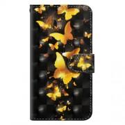 Δερμάτινη Θήκη Πορτοφόλι με Βάση Στήριξης για Nokia 3.1 Plus - Χρυσές Πεταλούδες