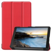 Tri-fold Stand Leather Tablet Casing for Samsung Galaxy Tab A 8.0 Wi-Fi (2019) T290/ LTE T295 - Red