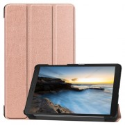 Tri-fold Stand Leather Tablet Casing for Samsung Galaxy Tab A 8.0 Wi-Fi (2019) T290/ LTE T295 - Rose Gold