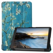 Pattern Printing Tri-fold Stand Leather Tablet Case for Samsung Galaxy Tab A 8.0 (2019) SM-T290/SM-T295 - Peach Blossom