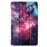 Pattern Printing Tri-fold Stand Leather Tablet Case for Samsung Galaxy Tab A 8.0 (2019) SM-T290/SM-T295 - Purple Cosmic Space