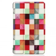 Pattern Printing Tri-fold Stand Leather Tablet Case for Samsung Galaxy Tab A 8.0 (2019) SM-T290/SM-T295 - Colorful Squares