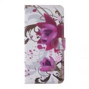 Δερμάτινη Θήκη Πορτοφόλι με Βάση Στήριξης για Nokia 6.2 / 7.2 - Μωβ Λουλούδια