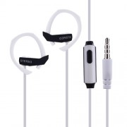 Noodle 3.5mm Ear-hook Super Bass Headphone with Mic for iPhone Samsung Sony - White