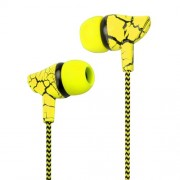 For iPhone Samsung Xiaomi etc. 3.5mm Crack Braided Wired Sport Headphone with Microphone Free Headphone - Yellow