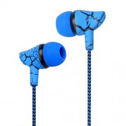 For iPhone Samsung Xiaomi etc. Crack Braided Wired 3.5mm In-ear Headphone with Microphone Free Headphone - Blue