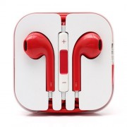 3.5mm Stereo Earphone Headset with Remote and Mic - Red