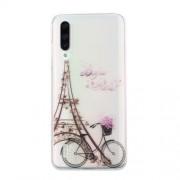 Clear Pattern Printing Soft TPU Back Cover for Xiaomi Mi CC9e/Mi A3 - Iron Tower and Bike