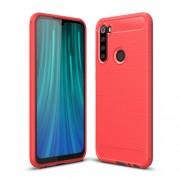 Carbon Fiber Texture Brushed TPU Phone Case for Xiaomi Redmi Note 8 - Red