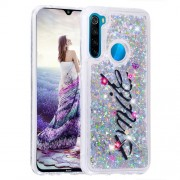 Pattern Printing Quicksand Dynamic Glittery Sequins TPU Casing for Xiaomi Redmi Note 8 - Silver/Smile
