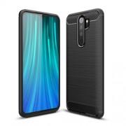 Carbon Fiber Texture Brushed TPU Phone Cover for Xiaomi Redmi Note 8 Pro - Black