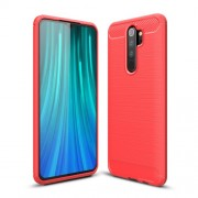 Carbon Fiber Texture Brushed TPU Phone Cover for Xiaomi Redmi Note 8 Pro - Red