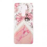 Θήκη Σιλικόνης TPU για Xiaomi Redmi Note 8 Pro - Ροζ Λουλούδι και Ροζ Μάρμαρο