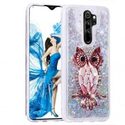 Pattern Printing Quicksand Dynamic Glittery Sequins TPU Case for Xiaomi Redmi Note 8 Pro - Silver/Owl