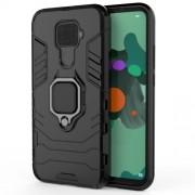 Cool Guard Ring Holder Kickstand PC TPU Hybrid Case for Huawei Mate 30 Lite/Nova 5i Pro - Black