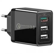 XHF30W Αντάπτορας Τοίχου με τρεις Θύρες USB Γρήγορης Φόρτισης QC 3.0 30W - Μαύρο