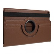 For Samsung Galaxy TAB A 10.1 (2019) SM-T510/SM-T515 Litchi Texture Leather Protection Tablet Cover [with 360 Degree Rotary Stand] - Brown
