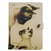 Pattern Printing PU Leather Stand Wallet Protective Tablet Case for iPad 10.2 (2019) - Cat with Blue Eyes