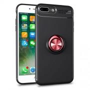 Υβριδική Θήκη Σιλικόνης TPU με Μεταλλικό Μαγνητικό Δαχτυλίδι που κάνει Βάση Στήριξης για iPhone 8 Plus / 7 Plus - Μαύρο / Κόκκινο