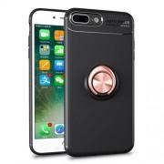 Υβριδική Θήκη Σιλικόνης TPU με Μεταλλικό Μαγνητικό Δαχτυλίδι που κάνει Βάση Στήριξης για iPhone 8 Plus / 7 Plus - Μαύρο / Ροζέ Χρυσαφί