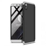 GKK 360 μοιρών Σκληρή Θήκη Ματ με Βελούδινη Υφή Πρόσοψης και Πλάτης για Xiaomi Redmi 7A - Μαύρο / Ασημί