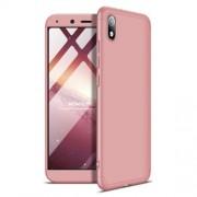 GKK 360 μοιρών Σκληρή Θήκη Ματ με Βελούδινη Υφή Πρόσοψης και Πλάτης για Xiaomi Redmi 7A - Ροζέ Χρυσαφί