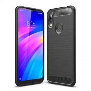 Carbon Fibre Brushed TPU Case for Xiaomi Redmi 7 / Redmi Y3 - Black