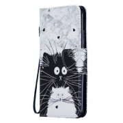 Pattern Printing PU Leather Magnetic Wallet Stand Protective Shell for Xiaomi Redmi 7 / Redmi Y3 - Black and White Animals