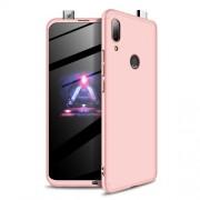 GKK 360 μοιρών Σκληρή Θήκη Ματ με Βελούδινη Υφή Πρόσοψης και Πλάτης για Huawei P Smart Z - Ροζέ Χρυσαφί