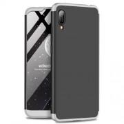 GKK 360 μοιρών Σκληρή Θήκη Ματ με Βελούδινη Υφή Πρόσοψης και Πλάτης για Huawei Y6 (2019, with Fingerprint Sensor) / Y6 Prime (2019) / Honor 8A - Μαύρο / Ασημί