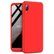 GKK 360 μοιρών Σκληρή Θήκη Ματ με Βελούδινη Υφή Πρόσοψης και Πλάτης για Huawei Y6 (2019, with Fingerprint Sensor) / Y6 Prime (2019) / Honor 8A - Κόκκινο