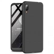 GKK 360 μοιρών Σκληρή Θήκη Ματ με Βελούδινη Υφή Πρόσοψης και Πλάτης για Huawei Y6 (2019, with Fingerprint Sensor) / Y6 Prime (2019) / Honor 8A - Μαύρο