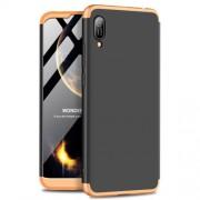 GKK 360 μοιρών Σκληρή Θήκη Ματ με Βελούδινη Υφή Πρόσοψης και Πλάτης για Huawei Y6 (2019, with Fingerprint Sensor) / Y6 Prime (2019) / Honor 8A - Μαύρο / Χρυσαφί