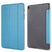 Silk Texture Tri-fold Stand Leather Case for Samsung Galaxy Tab A 8.0 Wi-Fi (2019) T290/ LTE T295 - Dark Blue