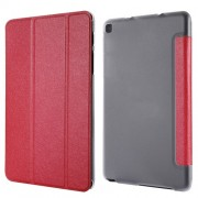 Silk Texture Tri-fold Stand Leather Case for Samsung Galaxy Tab A 8.0 Wi-Fi (2019) T290/ LTE T295 - Red