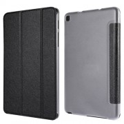 Silk Texture Tri-fold Stand Leather Case for Samsung Galaxy Tab A 8.0 Wi-Fi (2019) T290/ LTE T295 - Black