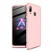 GKK 360 μοιρών Σκληρή Θήκη Ματ με Βελούδινη Υφή Πρόσοψης και Πλάτης για Samsung Galaxy A40 - Ροζέ Χρυσαφί