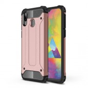 Armor Guard Plastic + TPU Hybrid Phone Cover for Samsung Galaxy M20 - Rose Gold