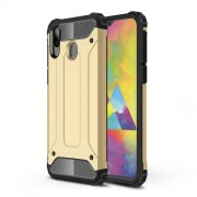 Armor Guard Plastic + TPU Hybrid Phone Cover for Samsung Galaxy M20 - Gold