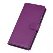Δερμάτινη Θήκη Πορτοφόλι με Βάση Στήριξης για Nokia 4.2 - Μωβ