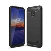 Carbon Fibre Skin Brushed TPU Phone Shell Case for Nokia 2.2 - Black