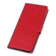 Δερμάτινη Θήκη Πορτοφόλι με Βάση Στήριξης για LG Q60 - Κόκκινο