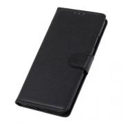 Litchi Skin Leather Wallet Case for LG K40 / K12 Plus - Black