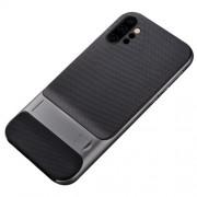 ELEGANCE Υβριδική Θήκη Σιλικόνης TPU (Πλάτη Διάφανη) σε Συνδυαμό με Πλαστικό και με Βάση Στήριξης για Samsung Galaxy Note 10 Plus - Γκρι