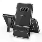 ELEGANCE Υβριδική Θήκη Σιλικόνης TPU (Πλάτη Διάφανη) σε Συνδυαμό με Πλαστικό και με Βάση Στήριξης για Samsung Galaxy S8 G950 - Μαύρο