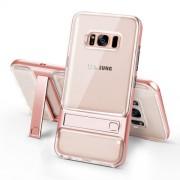 ELEGANCE Υβριδική Θήκη Σιλικόνης TPU (Πλάτη Διάφανη) σε Συνδυαμό με Πλαστικό και με Βάση Στήριξης για Samsung Galaxy S8 G950 - Ροζέ Χρυσαφί